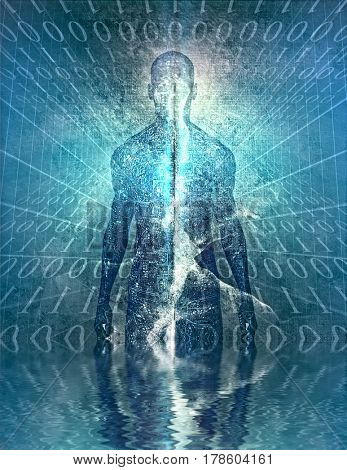 Mysterious figure with binary code   3D Rendering