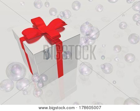 Silver gift box with bubbles   3D Rendering