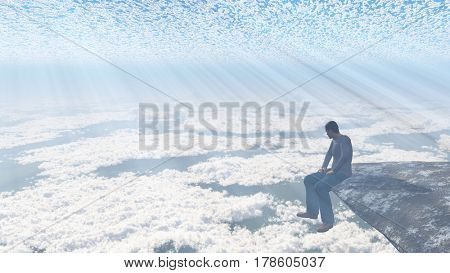 Man sitting on the edge of the cliff.   3D Rendering