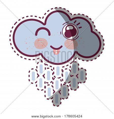 kawaii raining cloud funny with tongue outside, vector illustration design