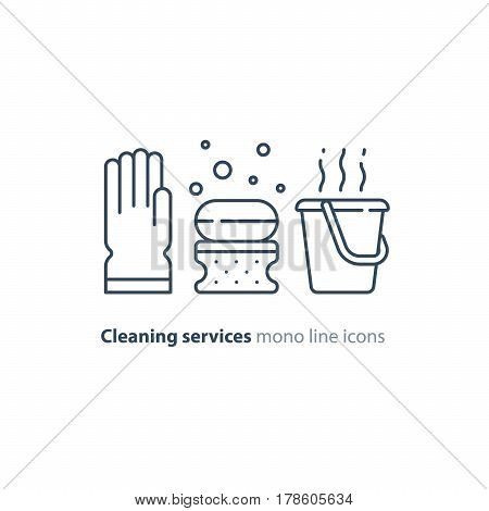 Cleaning services set, rubber glove, soap bubbles with sponge and hot water bucket, household and housekeeping hygiene items, equipment and supplies, mono line vector icon collection