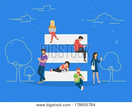 Hamburger menu and on mobile website concept illustration of young men and women using laptop, smartphone and digital tablet for surfing internet. Flat people searching internet and using web services