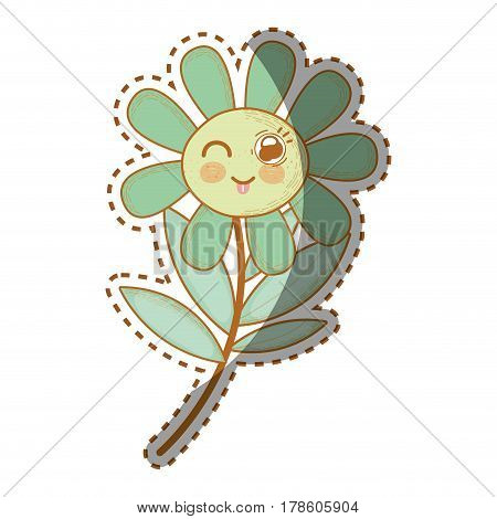kawaii funny flower plant with tongue outside, vector illustration design