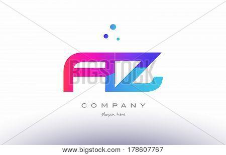 Az A Z  Creative Pink Blue Modern Alphabet Letter Logo Icon Template