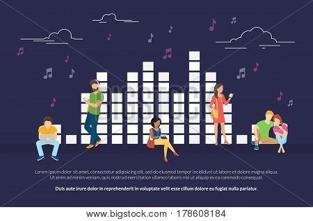 Music equalizer concept illustration of young men and women using devices such as laptop, smartphone, digital tablets for listening to music and relaxing. Flat design of people addicted to music