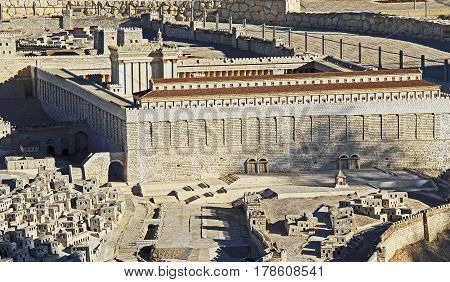 Model of ancient Jerusalem at the time of the second temple.  Focusing on the Temple Mount, Temple, The Royal Basilica, Huldah Gates, Robinson's Arch, and the Tomb of Prophetess Huldah,