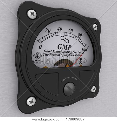 GMP. Good Manufacturing Practice indicator. The percent of implementation. Analog indicator showing the level implementation of principles of the Good Manufacturing Practice (GMP). 3D Illustration. Isolated