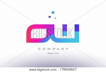 Ow O W  Creative Pink Blue Modern Alphabet Letter Logo Icon Template