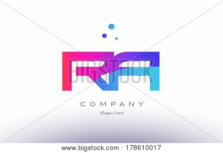 Ra R Q  Creative Pink Blue Modern Alphabet Letter Logo Icon Template