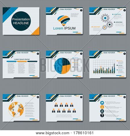 Professional business presentation, slide show vector design template. White background with yellow-blue geometric elements