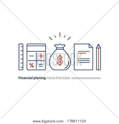Business plan concept, budget planning, financial education, finance investment calculation, project document, money dollar bag, calculator symbol, ruler pencil and paper sheet vector mono line icon
