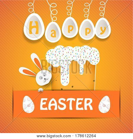Vector poster of Happy Easter with paper Easter Cake rabbit head white legs eggs hanging on a rope and text insert in yellow pocket on the gradient yellow background.