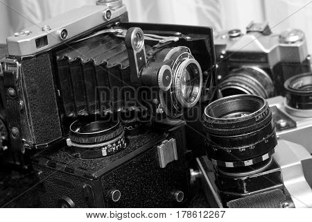 Close up of the part of old camera black and white photo