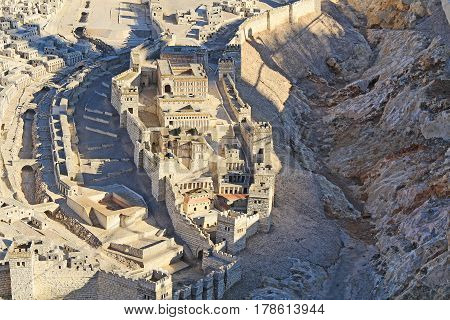 Model of ancient Jerusalem at the time of the second temple.  Focusing on the Lower City or City of David, Kidron Valley, Pool of Siloam, Adiabenian Royal Palaces and Synagogue of the Freedmen.