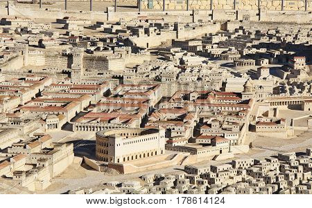 Model of ancient Jerusalem at the time of the second temple.  Including the Herodian Theater, Palace of High Priest Ananias, Royal Palace of the Hasmoneans and Second Wall.