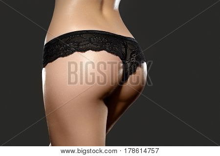 Beautiful Female Slim Body. Part Of Female Body. Woman's Shape With Clean Skin. Waist, Buttocks And