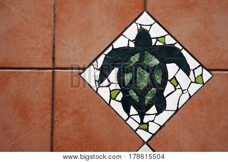 Hawksbill Sea Turtle Floor Tiles Background