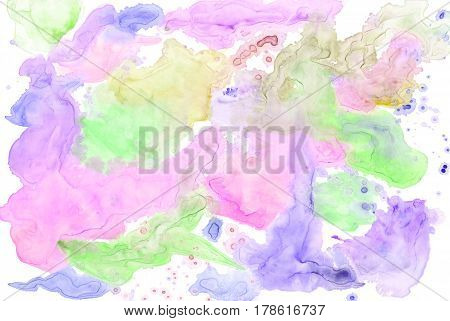 Colorful watercolor background texture isolated on white