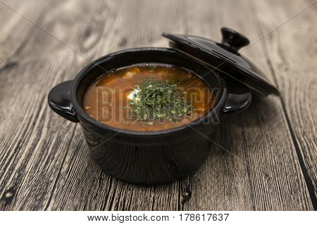 National Hungarian goulash soup. Tomato beef soup