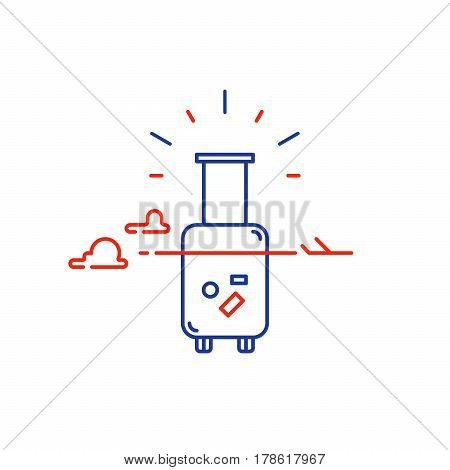Travel concept, tourism services, baggage ready for trip, airplane flight vector mono line icon