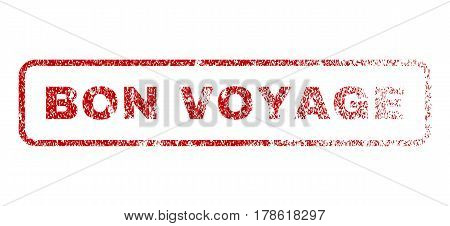 Bon Voyage text rubber seal stamp for watermarks. Textured message. Vector red caption inside rounded rectangular shape. Grunge design and dirty texture.