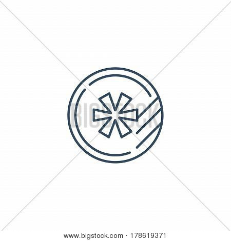 Token with star, air conditioning snow flake, freezing, vector mono line icon