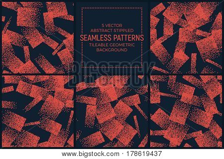 Set of 5 Vector Abstract Orange and Dark Blue Stippled Seamless Patterns. Handmade Tileable Geometric Dotted Grunge Background