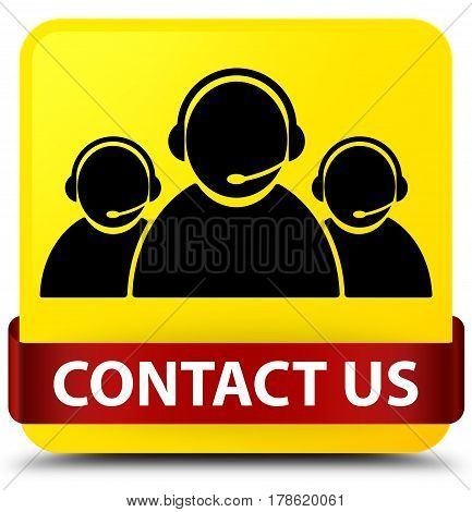 Contact Us (customer Care Team Icon) Yellow Square Button Red Ribbon In Middle