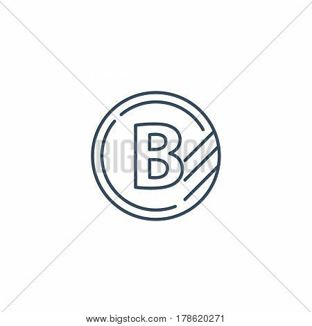 Token with letter B, upgrade concept, round classification mono line vector icon