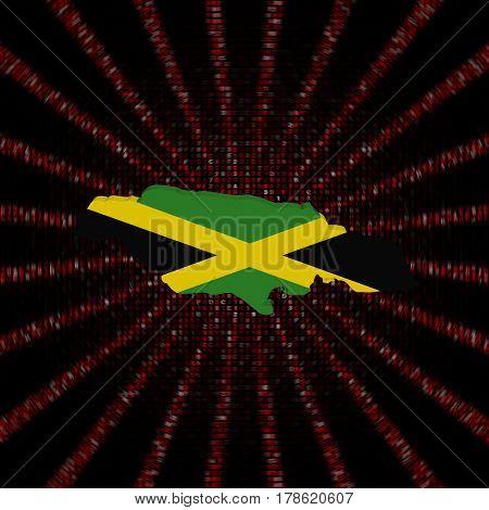 Jamaica map flag on red hex code burst 3d illustration