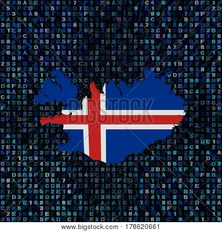 Iceland map flag on hex code 3d illustration