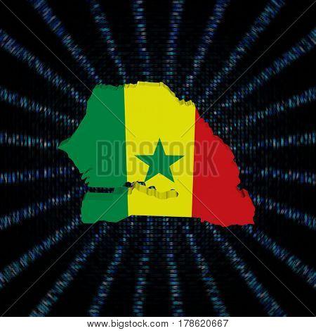Senegal map flag on blue hex code burst 3d illustration