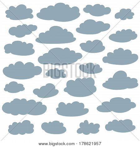 Cloud silhouettes collection. Set of vector cartoon cute simple clouds shapes. Icon and sign logo idea