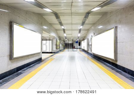 modern hallway of airport or subway station in city of China.