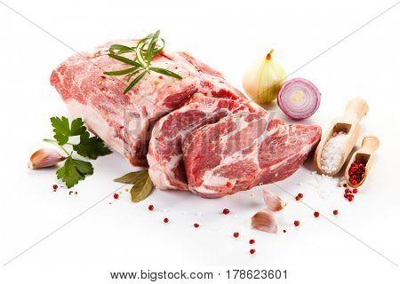 Fresh raw pork isolated on white