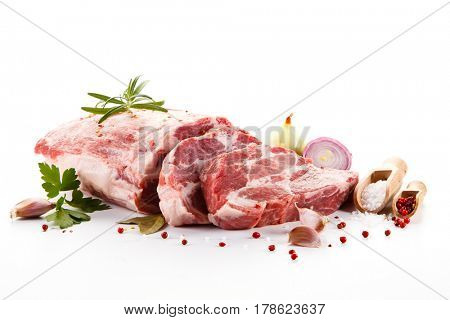 Fresh raw pork isolated on white