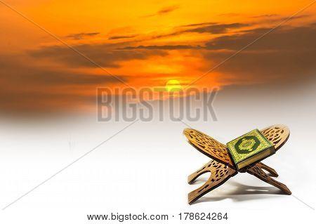 Koran - holy book of Muslims ,koran with sky