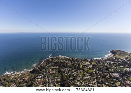 Aerial view of ocean view homes in the Point Dume neighborhood of Malibu, California.