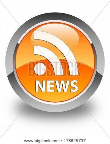News (rss Icon) Glossy Orange Round Button