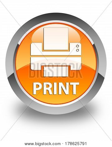 Print (printer Icon) Glossy Orange Round Button