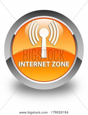 Internet Zone (wlan Network) Glossy Orange Round Button