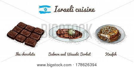 Israeli menu colorful illustration. Vector illustration of Israeli cuisine.
