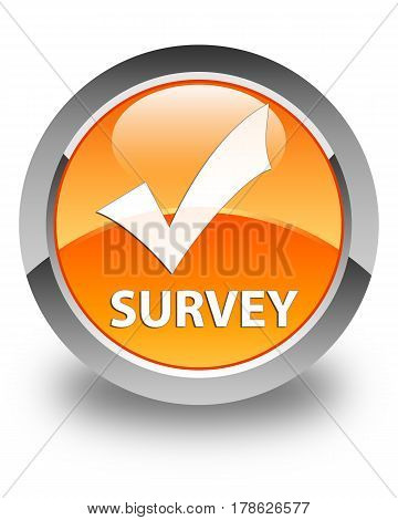 Survey (validate Icon) Glossy Orange Round Button
