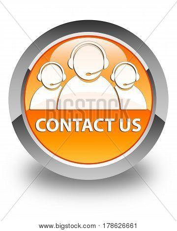 Contact Us (customer Care Team Icon) Glossy Orange Round Button