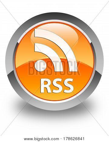 Rss Glossy Orange Round Button