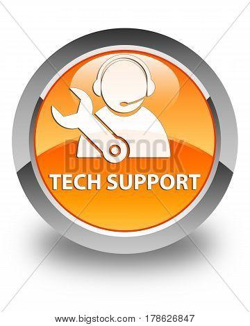 Tech Support Glossy Orange Round Button