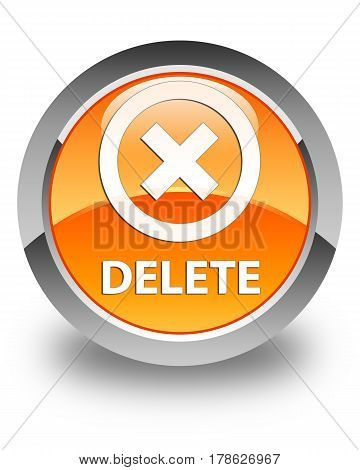 Delete Glossy Orange Round Button
