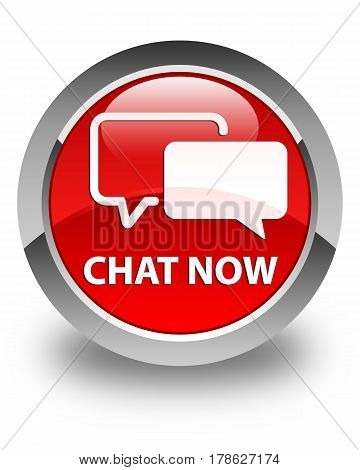 Chat Now Glossy Red Round Button