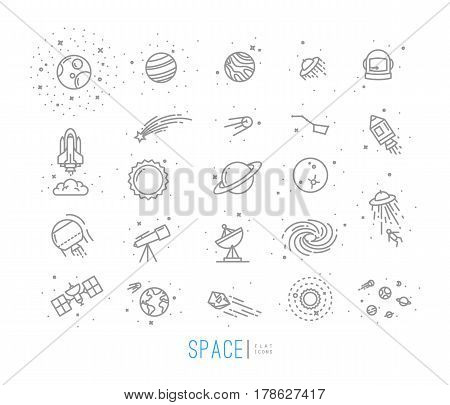 Space flat icons drawing with grey lines on white background.