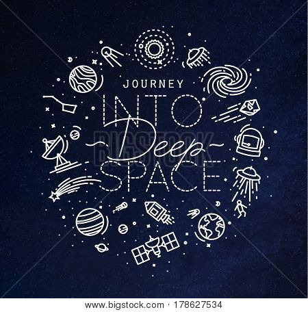 Space flat monogram lettering journey into deep space drawing with white lines on blue background